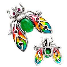 Art nouveau natural green emerald ruby enamel 925 silver brooch pendant c8300