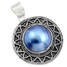 14.26cts natural titanium pearl 925 sterling silver pendant jewelry c8468