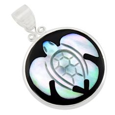 9.22cts natural cameo on shell 925 sterling silver turtle pendant jewelry c8471