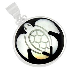 925 sterling silver 9.72cts natural cameo on shell turtle pendant jewelry c8473