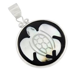 11.20cts natural cameo on shell 925 sterling silver turtle pendant jewelry c8474
