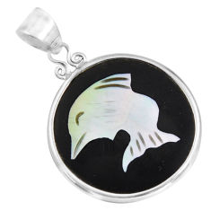 9.22cts natural cameo on shell 925 sterling silver dolphin pendant jewelry c8477