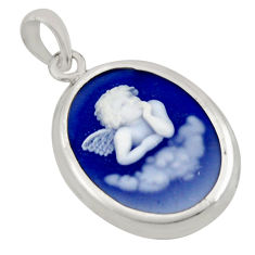 7.23cts white baby wing cameo 925 sterling silver pendant jewelry c8521