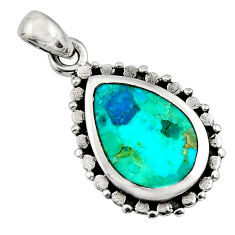 3.83cts green arizona mohave turquoise 925 sterling silver pendant jewelry c8565