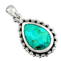 3.83cts green arizona mohave turquoise 925 sterling silver pendant jewelry c8567
