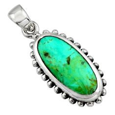 4.02gms green arizona mohave turquoise enamel 925 sterling silver pendant c8568