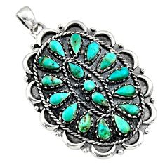 3.96cts green arizona mohave turquoise 925 sterling silver pendant jewelry c8569