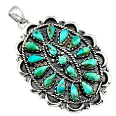 3.96cts green arizona mohave turquoise 925 sterling silver pendant jewelry c8571