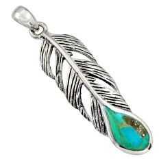 3.89gms green arizona mohave turquoise enamel 925 silver feather pendant c8575