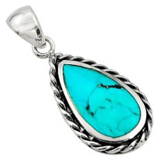 4.69gms green arizona mohave turquoise enamel 925 sterling silver pendant c8626