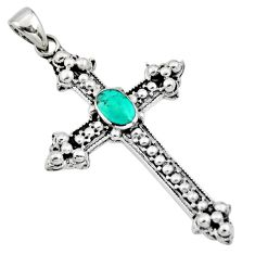 5.03gms green arizona mohave turquoise 925 silver holy cross pendant c8628