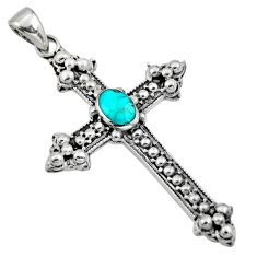 5.02gms green arizona mohave turquoise 925 silver holy cross pendant c8633