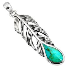 3.65gms green arizona mohave turquoise enamel 925 silver feather pendant c8635