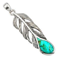 3.68gms green arizona mohave turquoise enamel 925 silver feather pendant c8636