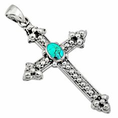 4.89gms green arizona mohave turquoise 925 silver holy cross pendant c8637