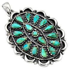 4.36cts green arizona mohave turquoise 925 sterling silver pendant jewelry c8639