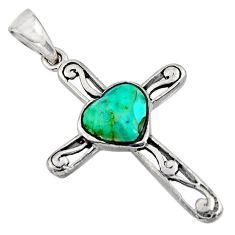 2.78cts green arizona mohave turquoise 925 silver holy cross pendant c8640