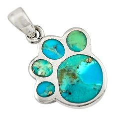 3.69gms green arizona mohave turquoise enamel 925 sterling silver pendant c8658