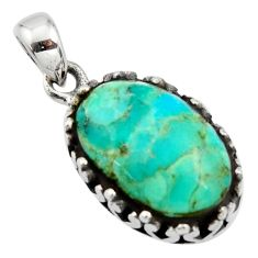 7.04cts green arizona mohave turquoise 925 sterling silver pendant jewelry c8822