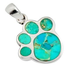 3.48gms green arizona mohave turquoise enamel 925 sterling silver pendant c8826