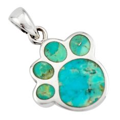 3.48gms green arizona mohave turquoise enamel 925 sterling silver pendant c8829
