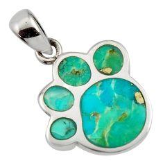 3.48gms green arizona mohave turquoise enamel 925 sterling silver pendant c8835