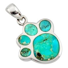 3.48gms green arizona mohave turquoise enamel 925 sterling silver pendant c8836