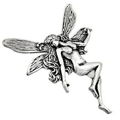 10.03gms indonesian bali style solid 925 sterling silver angel pendant c8959