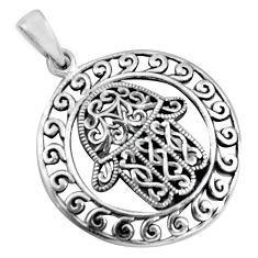 5.89gms filigree bali style 925 silver hand of god hamsa pendant c8963