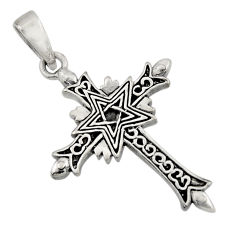 5.48gms indonesian style 925 sterling silver religious holy cross pendant c8965