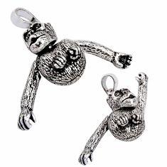 925 silver 10.03gms indonesian bali style solid chimpanzee charm pendant c8999
