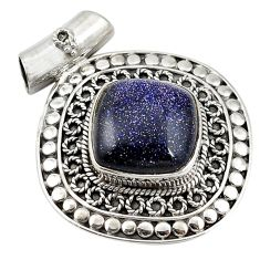 Natural blue goldstone 925 sterling silver pendant jewelry d11253