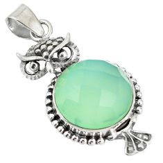 Clearance Sale- Natural aqua chalcedony 925 sterling silver owl pendant jewelry d12271