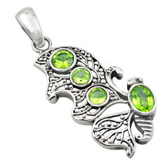 Clearance Sale- ver natural green peridot round pendant jewelry d13040