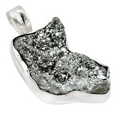 Silver druzy fancy shape 925 sterling silver pendant jewelry d13102
