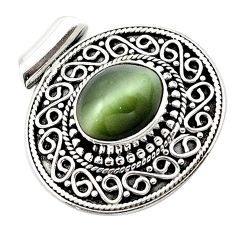 Green cats eye oval shape 925 sterling silver pendant jewelry d13183
