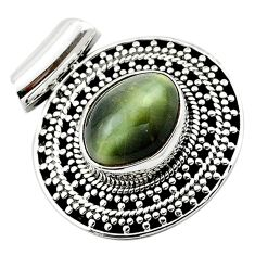 Green cats eye oval 925 sterling silver pendant jewelry d13187