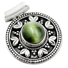 925 sterling silver green cats eye oval shape pendant jewelry d13190