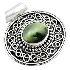 Green cats eye oval 925 sterling silver pendant jewelry d13192