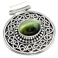 Green cats eye oval shape 925 sterling silver pendant jewelry d13369