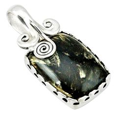 Clearance Sale- Natural black seraphinite (russian) 925 sterling silver pendant d1350