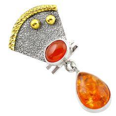 Clearance Sale- Orange amber cornelian (carnelian) 925 silver 14k gold pendant d14704
