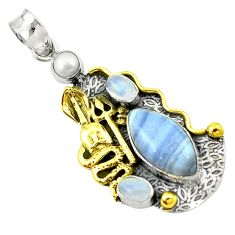 Clearance Sale- Victorian natural blue lace agate 925 silver two tone snake pendant d16239