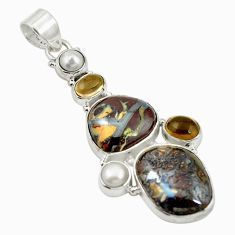 Clearance Sale- 925 sterling silver natural brown boulder opal smoky topaz pearl pendant d17644
