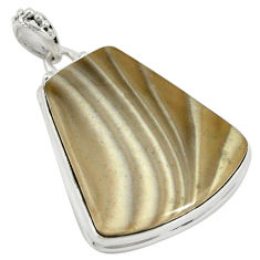 Natural grey striped flint ohio 925 sterling silver pendant jewelry d19321