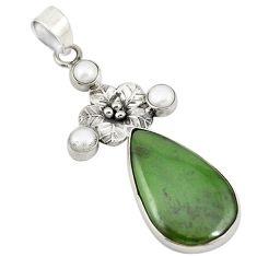 925 silver natural green aventurine (brazil) pearl flower pendant d19413