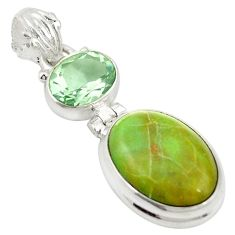 Natural green gaspeite amethyst 925 sterling silver pendant green d19663