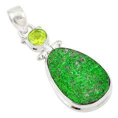 Natural green uvarovite garnet peridot 925 silver pendant jewelry d19669