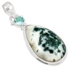 Natural white tree agate topaz 925 sterling silver pendant jewelry d21022