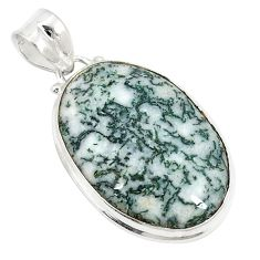Natural white tree agate 925 sterling silver pendant jewelry d21028